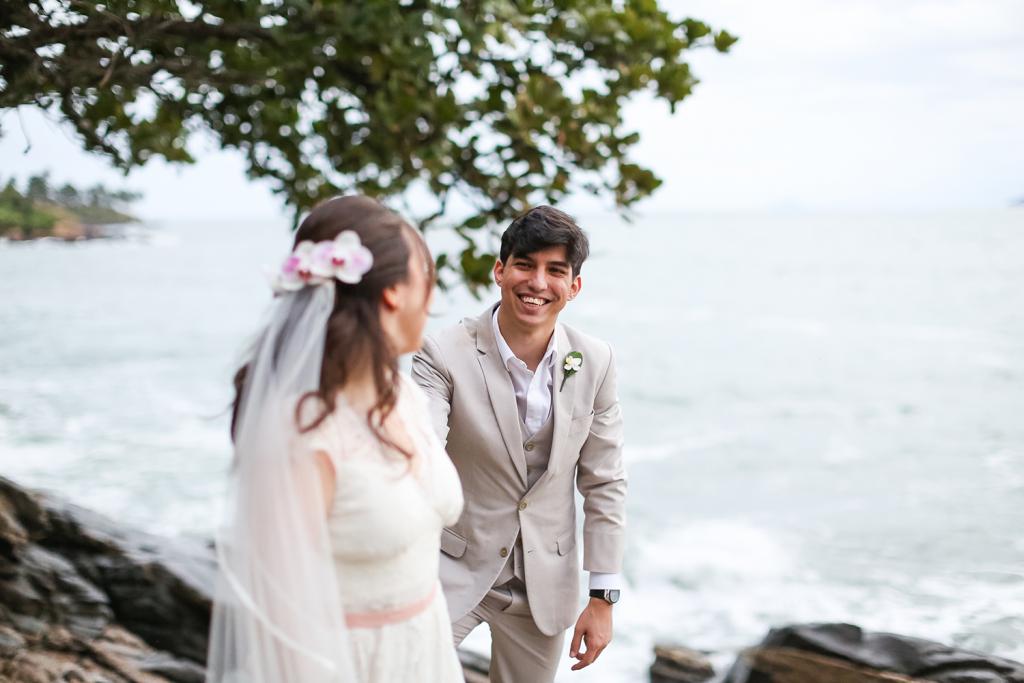 Bianca e Thiago Troca de votos na Casa de Canoa em Ilhabela